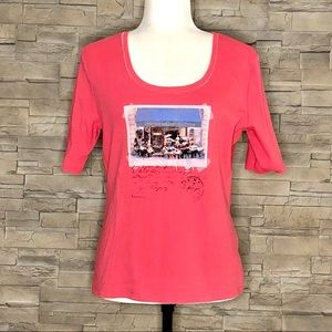 Betty Barclay coral postcard t-shirt